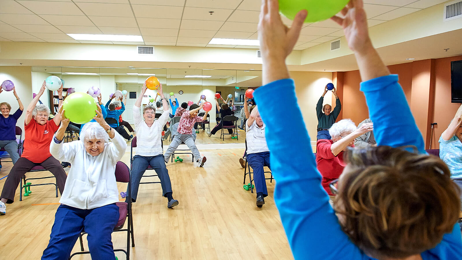 Residents participating in a fitness class