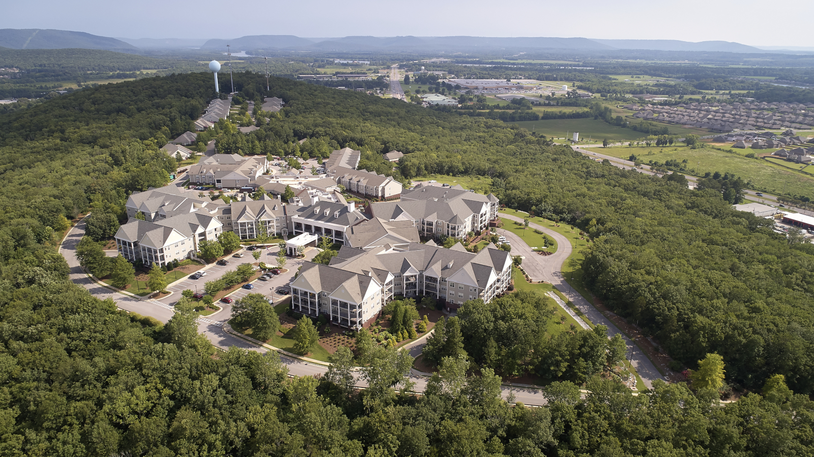 aerial view of Redstone Village