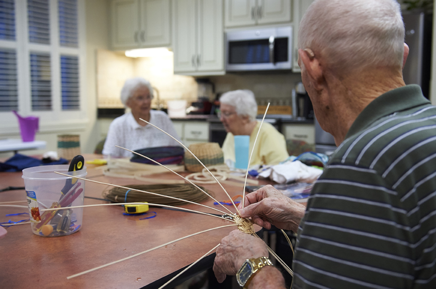 Residents of Redstone Village doing arts and crafts